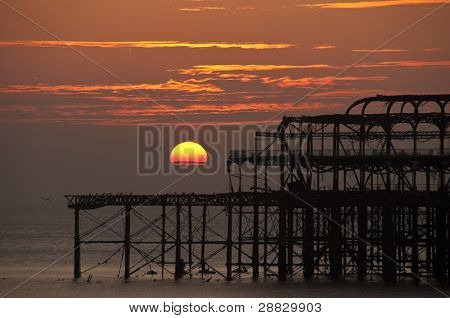Detail of the West Pier at sunset, Brighton and Hove, UK