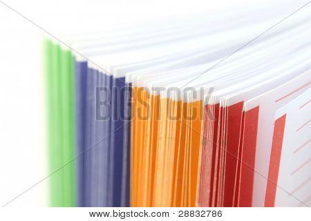 Colorful binder separaters close up shot