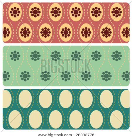 seamless retro pattern set