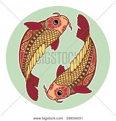 Постер, плакат: Знаки зодиака Рыбы окрашенная , холст на подрамнике