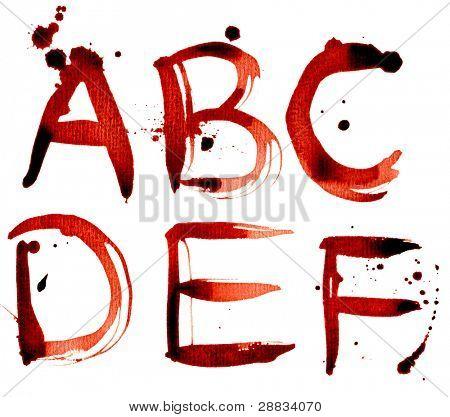 Grunge alphabet A-F