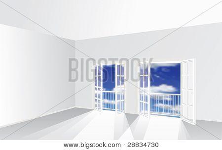 leeren Raum mit zwei französischen Fenstern