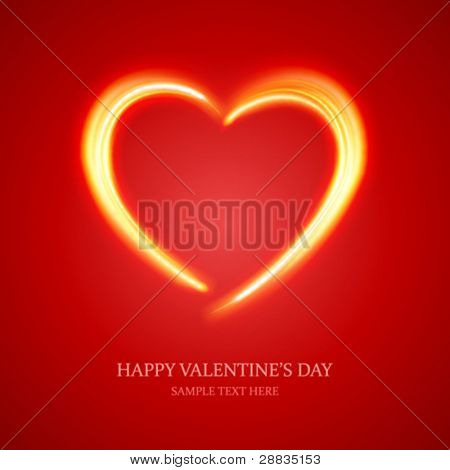 Burn heart shape flame fire vector background eps 10