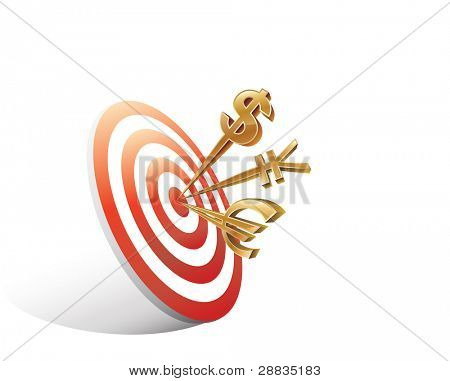 Digital illustration of money signs on target isolated on white background,Images for target, dart, marketing, economic, finance,competition;