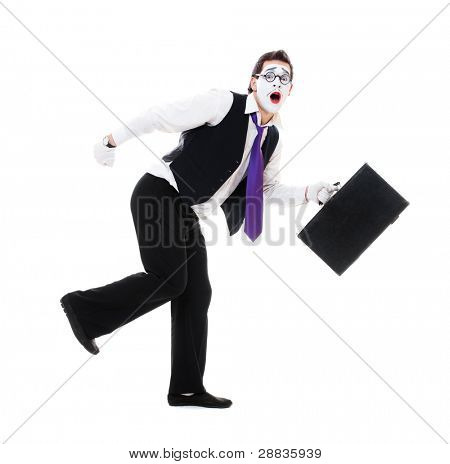 mime with hand luggage running. isolated on white background