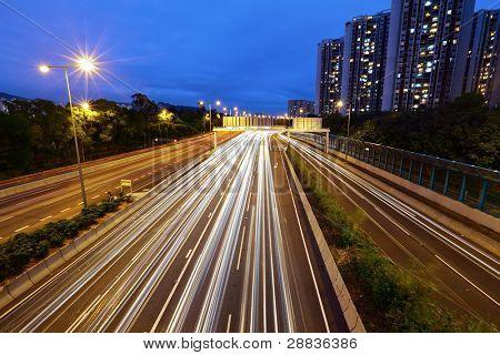 light trails in mega city highway