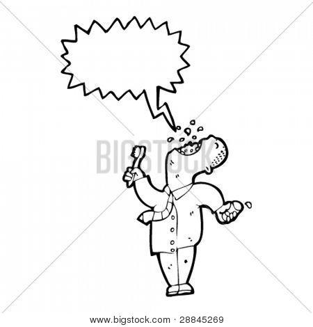 man gargling mouthwash cartoon