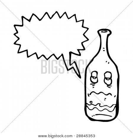 wine bottle with hangover cartoon