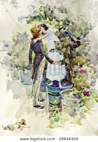 Boy and girl kissing - illustration by artist A.P. Apsit from book