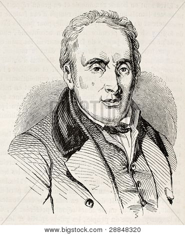 Francois-Ricard Lenoir old engraved portrait, French textile industrialist. By unidentified author, published on Magasin Pittoresque, Paris, 1845