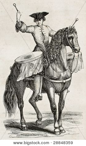 Drummer on horseback old illustration. By unidentified author, published on Magasin Pittoresque, Paris, 1845