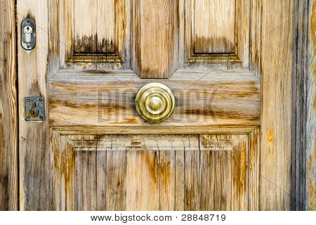 Closeup wood door with locked