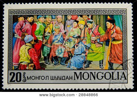 MONGOLIA - CIRCA 1973: A postage stamp printed in the Mongolia shows image of the scenes of a life of Mongols, circa 1973