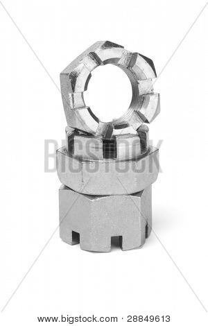 Stack of Metal Nuts on White Background