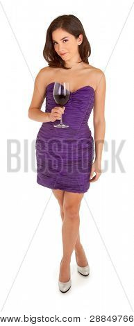 Standing Woman in an Evening Dress Holding a Glass of Wine
