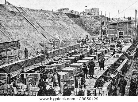 "Construction of a new bay in Samara (Russia). Engraving on steel by Rashevsky. Published in magazine ""Niva"", publishing house A.F. Marx, St. Petersburg, Russia, 1893"