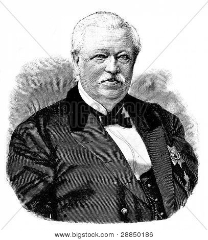 Portrait of academician N.Koksharova (President of Russian Mineralogical society). Engraving by Baranovsky. Published in magazine