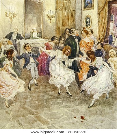 Dancing children. Illustration by artist A.Apnist from book