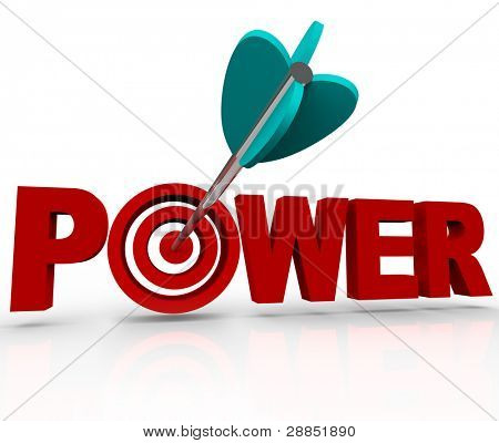 An arrow makes a direct hit in the bulls-eye target in the word Power, symbolizing the strength and force of being in a position of control and influence