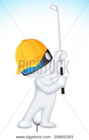 illustration of 3d man in vector fully scalable playing golf
