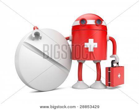Médica bot com pílula. Imagem conter o traçado de recorte