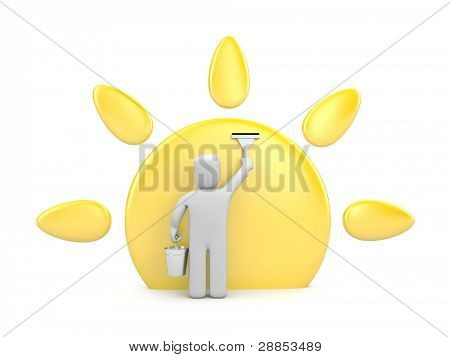 Cleaning of the sun before spring. Image contain clipping path