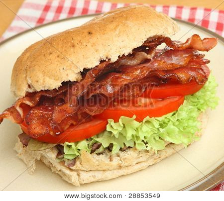 Bacon, lettuce & tomato in a wholemeal bap