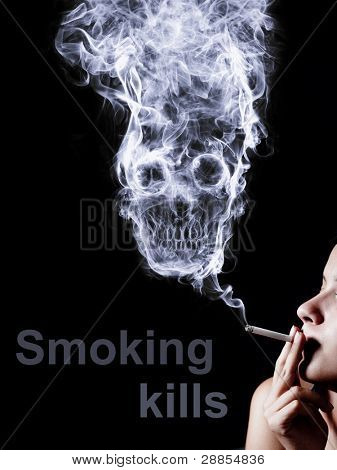 woman smoking a cigarette. Of smoke formed skull dead, as a symbol of the dangers of smoking to health and imminent death of people. The concept