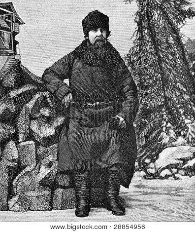 Narrator of tales Ivan Ryabinin. Engraving on steel by Shyubler. Published in magazine