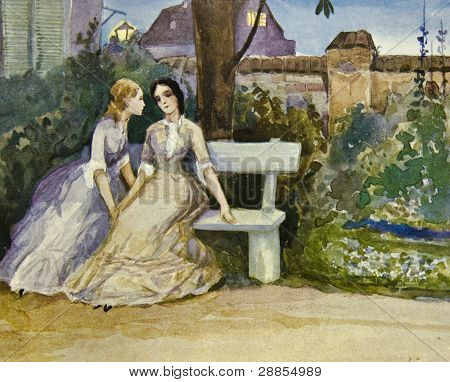 Two girls sitting on bench. Illustration by artist Zahar Pichugin from book