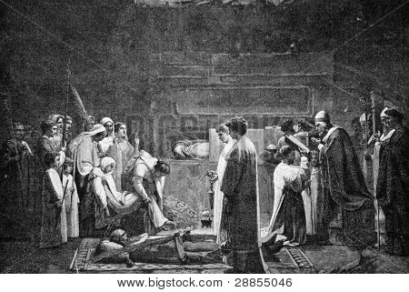 Christian martyrs in the catacombs. Engraving on steel by Kloss from picture by painter Leneifey. Published in magazine