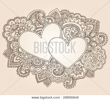 Hearts Henna Mehndi Valentine's Day Doodles Floral Paisley Design Vector Illustration