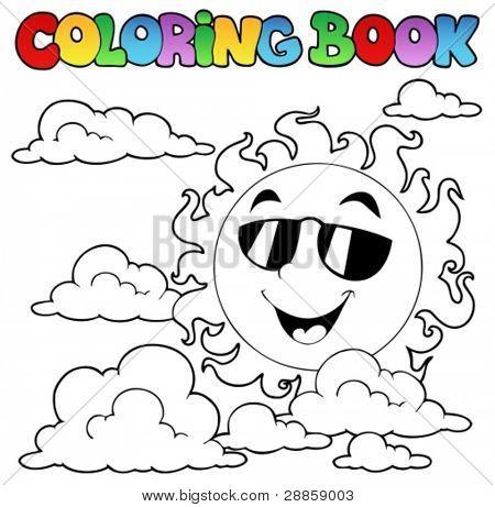 Malbuch mit Sonne und Wolken 1 Vektor-Illustration.
