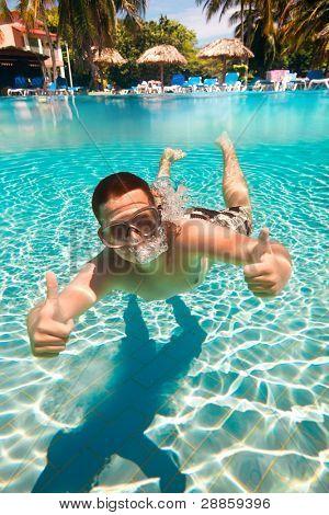 teenager floatsunder water in pool
