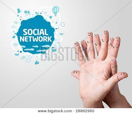 Melden Sie glücklich Finger Smileys mit social network