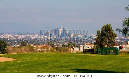 A view from a park of downtown Los Angeles