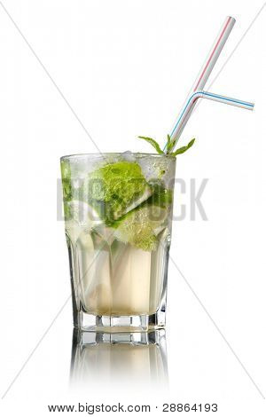 mohito cocktail isolated on white