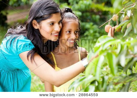 happy mother and little daughter looking at litchis
