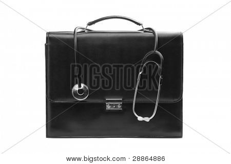A studio shot of a doctor's case with a stethoscope isolated on white background