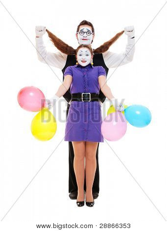 couple of two funny emotional mimes. isolated on white background