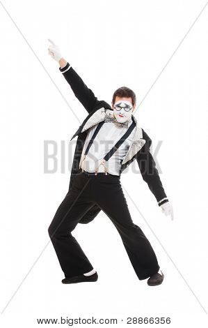 portrait of dancer mime. isolated on white background