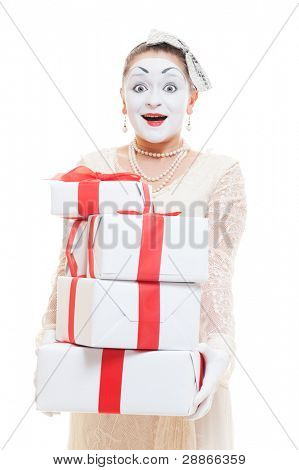 amazed mime woman  holding many boxes of presents. isolated on white background