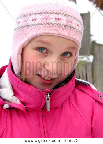 Portrait Of A Girl In Winter Hat