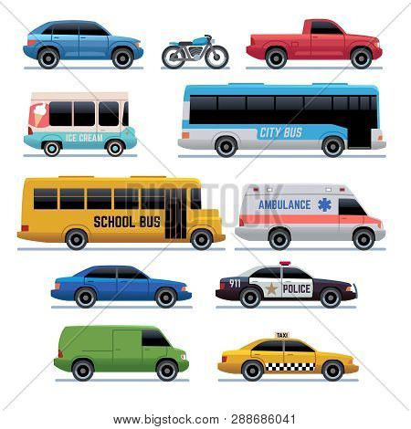 poster of Car Flat Icons. Public City Transport Bus, Cars And Bike, Truck. Vehicle Vector Cartoon Symbols. Tra