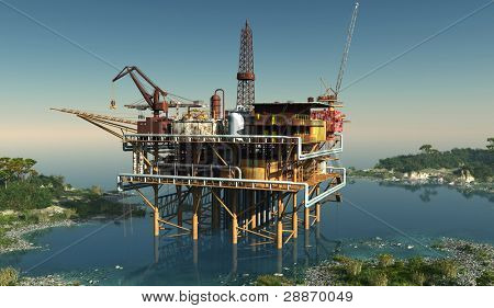 Oil production in the lagoon.