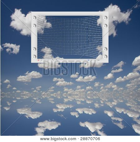 Flat Panel and Sky with binary code