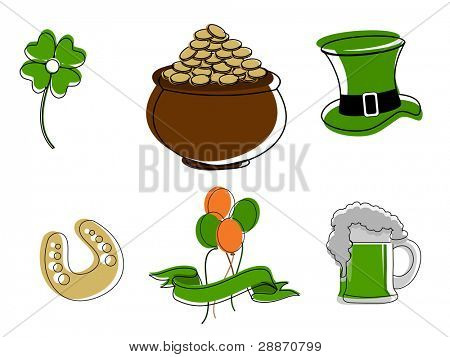 vector set of a Saint Patrick's Day symbols on white isolated background.