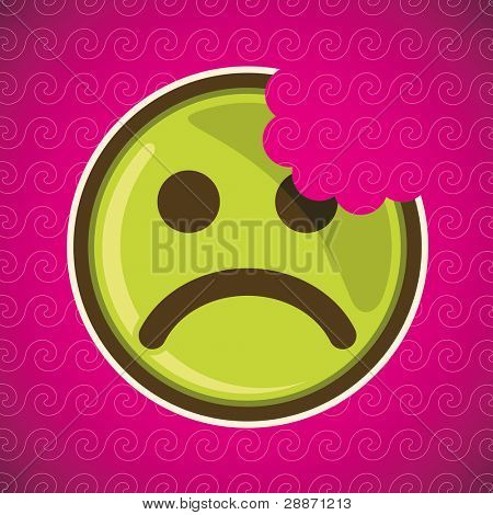Bitten sad smiley. Vector illustration.