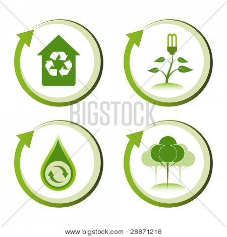 Green eco friendly design concepts. Green house, energy saving light, recycle water droplet, green reforestation.