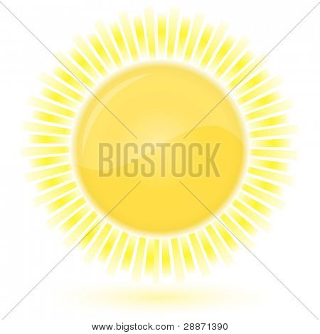Glossy icon of Sun. Vector illustration